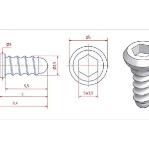 Ceramic screw, Type SI, 6mm (SI06)