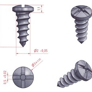 Titanium bone screws, 2x4mm, self-drilling